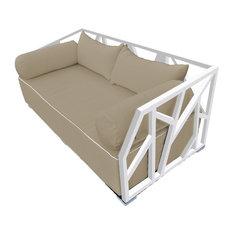Solis Nidum Deep Seated Powder Coated Steel Patio Modern Daybed, White/Beige