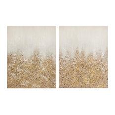 Madison Park Golden Glimmer Hand Brush Embellished Canvas, 2-Piece Set