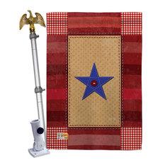 One Star Service Americana Military House Flag Set