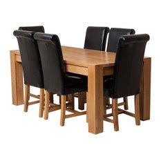 Kuba Chunky Oak Dining Table With 6 Washington Chairs, Black Leather
