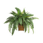 Boston Fern With Wood Wicker Basket Silk Plant