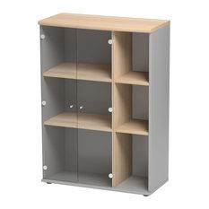 Jazz Storage Cabinet With 2 Glass Doors, Beech Finish