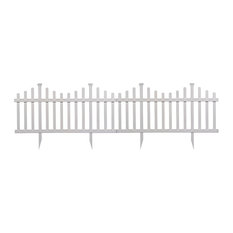 No-Dig 2-Panel Vinyl Picket Garden Fence Set