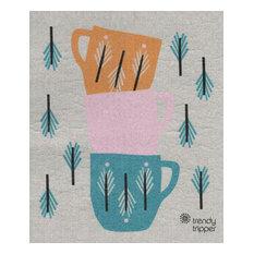 Swedish Dishcloth, Stacked Cups, Cobalt Blue/Orange/Pink on Gray