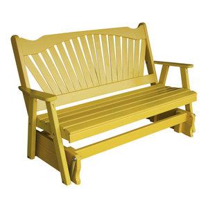 Langlois Furniture. 4\u0027 Pine Glider, Fanback Design, White By Furniture  Barn