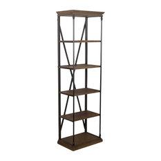 GDF Studio Brennon 5-Shelf Industrial Wood Bookshelf, Dark Khaki