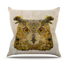 """Ancello """"Abstract Owl"""" Brown Outdoor Throw Pillow"""