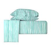 Aqua Blue Watercolor Stripes By Friztin Blue 4 Piece Sheet Set, Queen