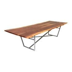 Live Edge Dining Table, Brush Steel X Trestle Base, Black Walnut