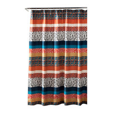 Boho Stripe Shower Curtain Turquoise and Tangerine