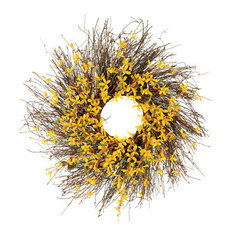 Silk Plants Direct Forsythia Wreath, Pack of 2