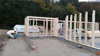 Herstellung eines Blockbohlenhauses