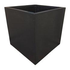Black Cube Polystone Planter, 70x70x62 cm