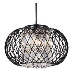 3-Light Antique Black Round Drum Crystal Pendant Chandelier Glam
