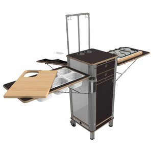 Live Moving Kitchen, 2-Ring Gas Stove With 2 Wheels and 2 Feet, Dark Brown