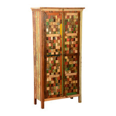 "Sierra Living Concepts - Textured Tiles Reclaimed Wood 71.5"" Armoire Wardrobe Cabinet - Armoires and Wardrobes"