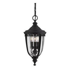 English Bridle 3-Light Outdoor Hanging Light, Black, Small