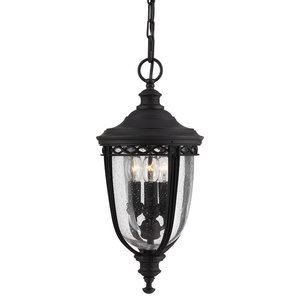 English Bridle 3-Light Outdoor Hanging Light, Black, Small