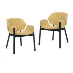 Modrest Jozy Modern Dining Chair Set Of 2 Yellow/Walnut