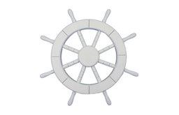 Decorative Ship Wheel, White, 18''