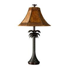 French Verdi Table Lamp, Dark Brown Finish, Brown Woven Rattan Shade