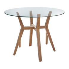 Natural Teak and Glass Round Dining Table