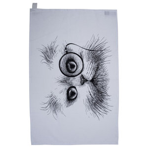 Cat Monocle Tea Towel