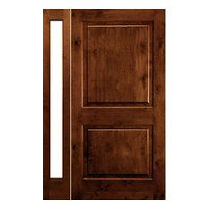 "Knotty Alder Square Top Door, L-Sidelite, 50""x80""x1.75"", L-Hand, Chestnut"