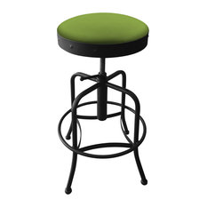 910 Industrial-Adjustable Stool With Canter Kiwi Green Seat