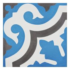 "8""x8"" Tanger Handmade Cement Tile, Navy Blue/Brown, Set of 12"