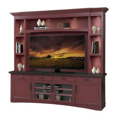 Parker House Americana Modern 92 Inches TV Console With Hutch Cranberry