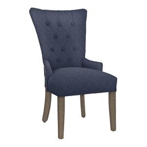 Modern Hekman Woodmark Sandra Dining Chair With Antique Brass Nailhead Trim