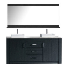 """Tavian 60"""" Double Gray, White Engineered Stone Top, Square Sink, Faucet, Mirror"""