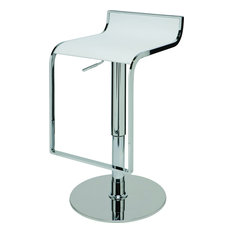 Alexander Adjustable Bar Stool Modern Contemporary Counter Stool White Leather