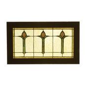 "Meyda 24""x14"" Arts and Crafts Bud Trio Wood Frame Stained Glass Window"