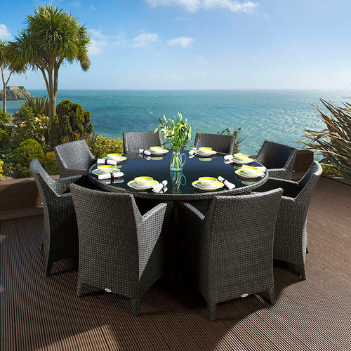 luxury rattan garden dining table 8 carver chairs outdoor dining sets - Garden Furniture Luxury