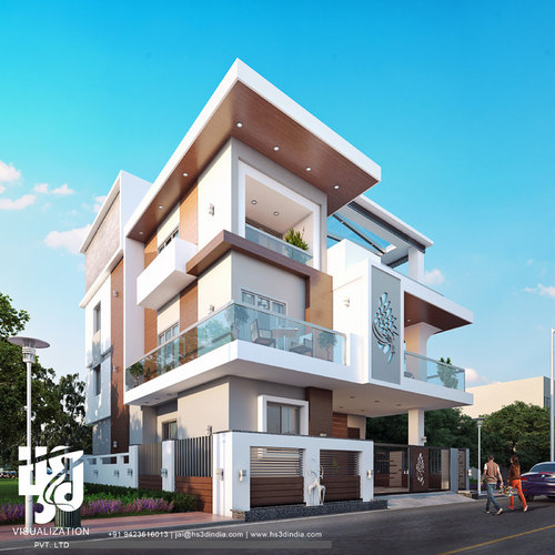 MODERN BUNGALOW EXTERIOR ELEVATION DESIGN DAY RENDERING HS 3D INDIA