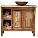 """FoxDen Decor - Havana Rustic Vanity With Storage, 36""""x22""""x36"""", Single Sink - This beautiful reclaimed wood vanity has plenty of storage space inside the cabinet and the cubbies on the side are perfect for rolled towels and other decorative items! Our reclaimed wood will have natural signs of aging and weathering along with holes from the nails that held it to the buildings and corrals it was salvaged from.  We take all our reclaimed wood and carefully sand it down until it has our signature smooth, buttery finish. It's then stained and a hand rubbed paste wax is applied to the entire piece to protect and help seal the wood. We create each and every item by hand when ordered, so please expect slight variations in style and color."""