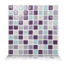 Mosaic Peel and Stick Wall Tile, 10 Pack, Violet Mint