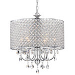 Edvivi Lighting - 5-Light Chrome Round Beaded Drum Chandelier With Hanging Crystals - This stunning fixture features a crystal encrusted drum shade, three rows of cascading hanging crystal pendants and a chrome finish. The 6-Light design ensures that a subtle glow of light is emitted in the room that adds drama and mood lighting. This chandelier will beautifully adorn any bedroom, living room or bathroom with ambiance, light, and style that captures the eye. The chain is 40 inches long and is adjustable.