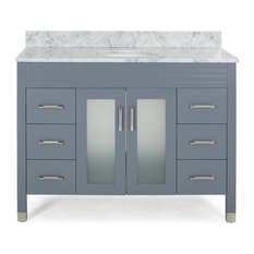 """Taylor Contemporary 48"""" Wood Single Sink Bathroom Vanity With Marble Counter Top"""