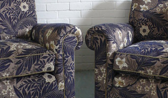 Armchairs upholstered in Morris and Co Larkspur
