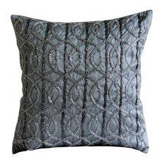 "Lattice Trellis 22""x22"" Art Silk Gray Pillow Covers, Gray N Silver"