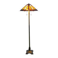 "Serena d'italia Tiffany 2-Light Mission 58"" Bronze Floor Lamp"