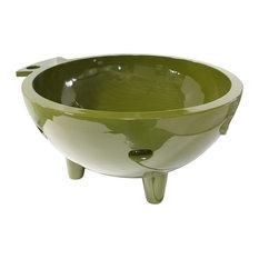 ALFI Round Fire Burning Portable Outdoor Light Fiberglass Soaking Hot Tub, Olive
