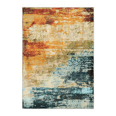 """Casa Eroded Blue and Red Rug, 7'10""""x10'10"""""""