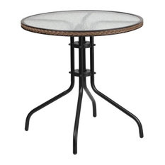 """Flash Furniture 29"""" Round Glass Top Patio Dining Table in Black Brown"""