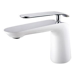 Single Handle Lavatory Faucet, Chrome/White