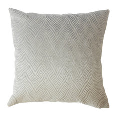 "Nuri Solid Down Filled Throw Pillow, Stone, 20""x20"""