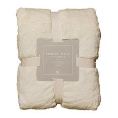 "Luxe Faux Fur Throw Blanket, Cream, 58""x84"""